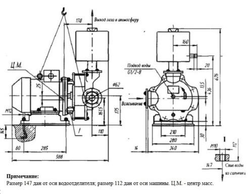 Габаритный чертеж агрегата